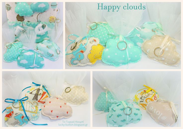 Happy clouds, favor baptism,  Υφασμάτινα συννεφάκια μπρελόκ, μπομπονιέρα βάπτισης,