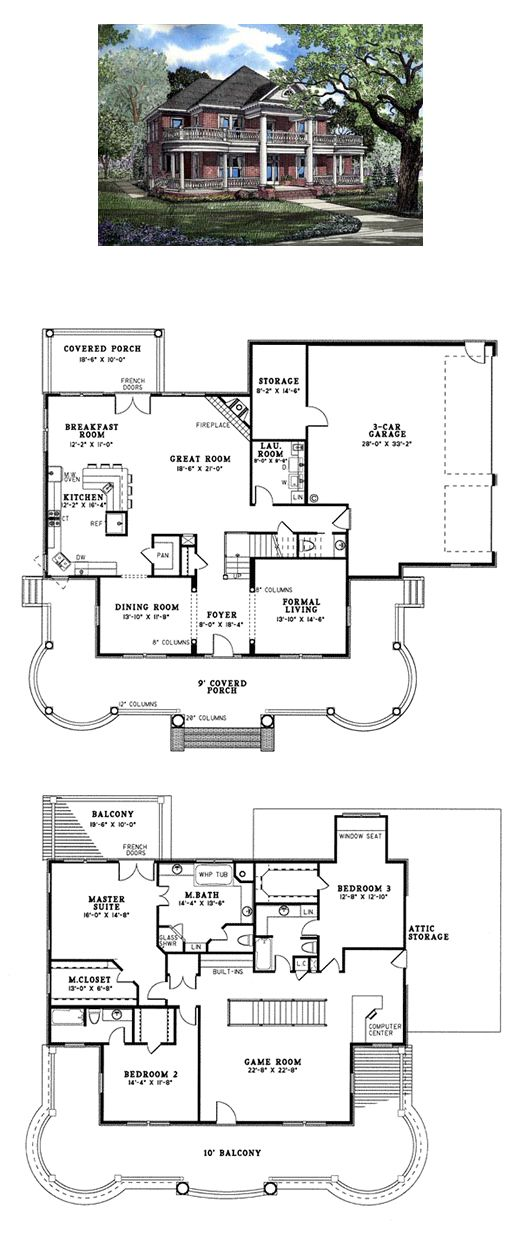 House Plan 82054 | Total Living Area: 3556 sq. ft., 3 bedrooms & 3.5 bathrooms. Imagine coming home to this magnificent home with historical architectural details throughout the home's interior and exterior. You'll be able to greet guests on the elegant front porch before leading them inside to gather in the spacious great room with corner fireplace. #plantationstyle #houseplan