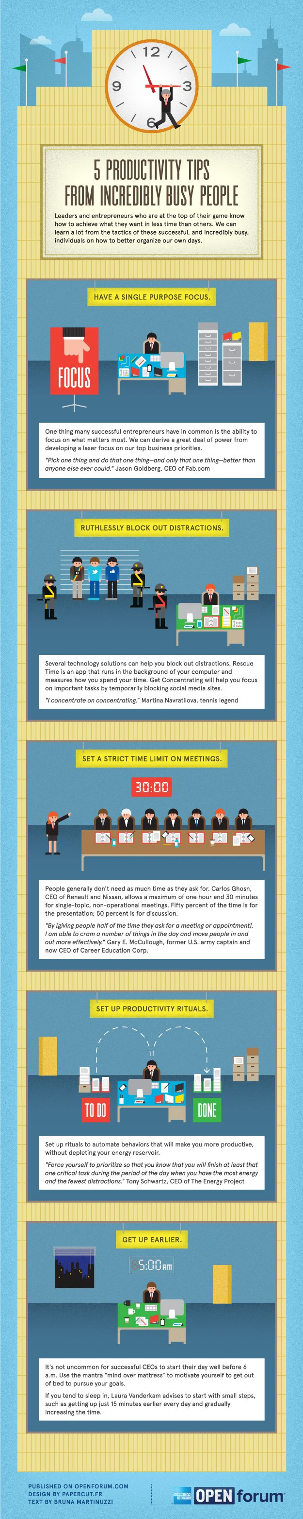 5 Productivity Tips From Incredibly Busy People #Infographic #Business