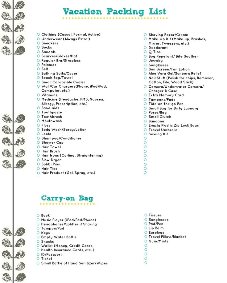 Vacation Packing List: A Free Download