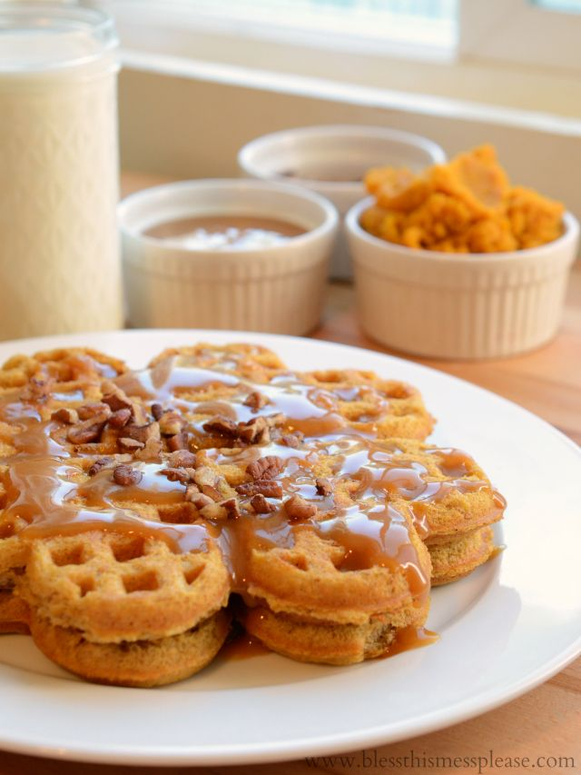 Pumpkin Caramel Spice Waffles with Caramel Maple Syrup - oh my ...