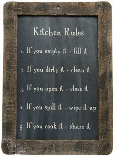 New Primitive Country Folk Art KITCHEN RULES Chalkboard Sign Wall Plaque