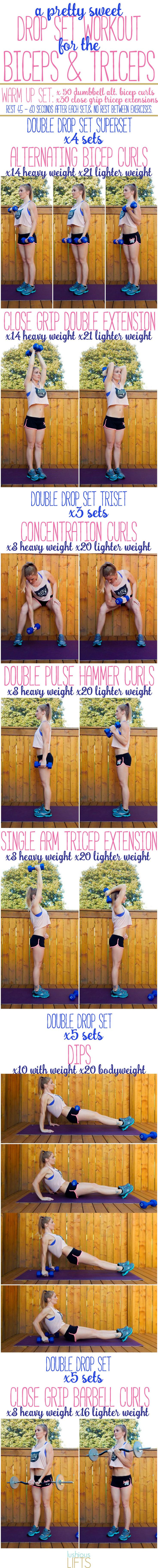 A Pretty Sweet Drop Set Workout that you're going to love for the #Biceps & Triceps    lushiouslifts.com #weighttraining