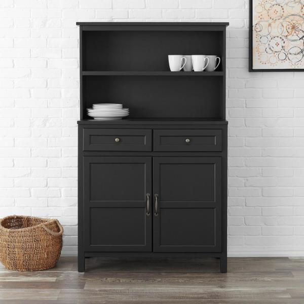 Stylewell Stylewell Black Wood Transitional Kitchen Pantry 36 In W X 58 In H Sk19311ar1 B The Home Depot In 2021 Black Kitchen Storage Black Kitchen Storage Cabinet Kitchen Armoire