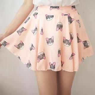 coral kitty cat skirt