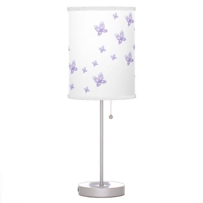 Purple Butterflies Table Lamp Zazzle Com In 2020 Purple Lamp Shade Purple Lamp Purple Butterfly Room