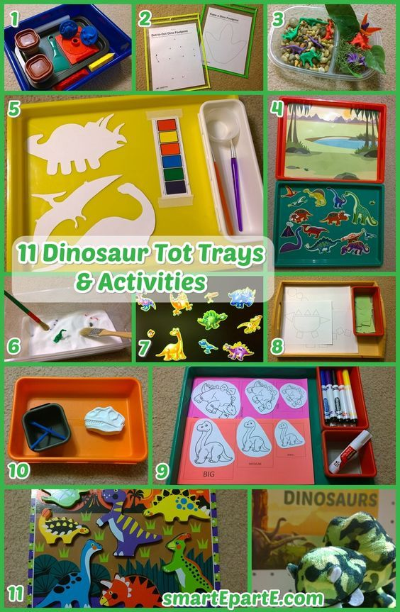 DINOSAUR themed tot trays and activities! Includes watercolor dinos cut with the Silhouette Cameo and a fun play dough tray!