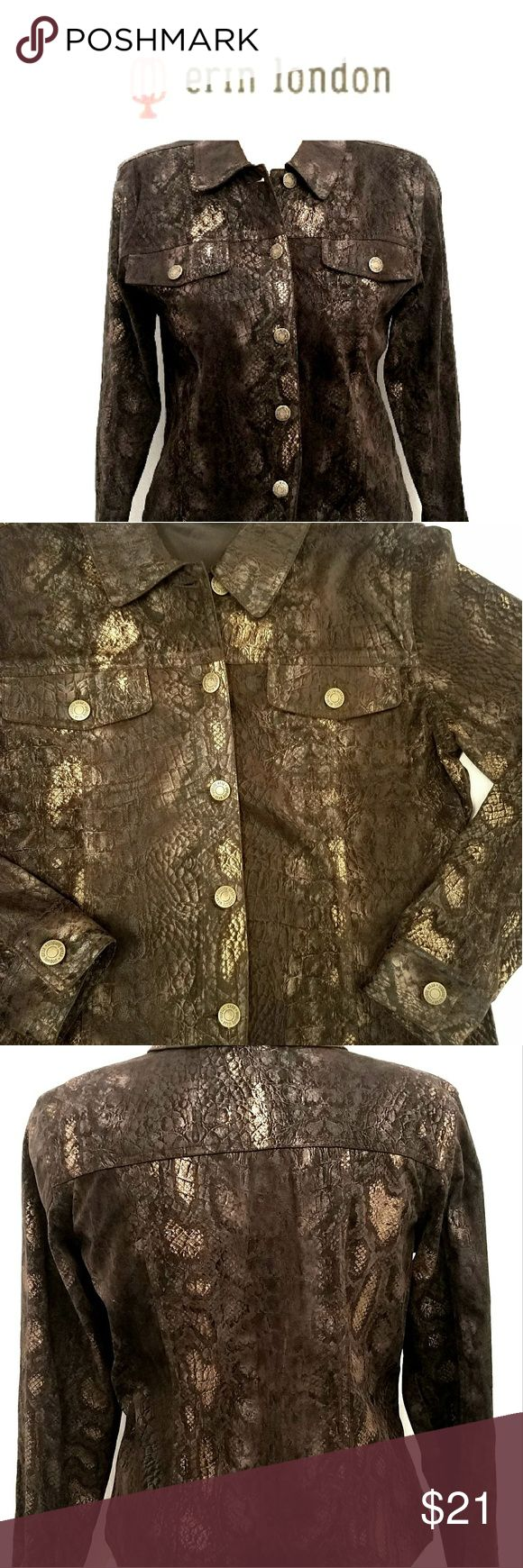 Erin London Brown snakeskin patterned shirt Beautiful Erin London Brown snakeskin patterned long-sleeve button-up shirt size small measures 16 and 1/2 in across the shoulders and 19 in across the chest and its 23 inches long and the sleeves are 19in long and it is 100% polyester and in new condition. Erin London Tops Button Down Shirts