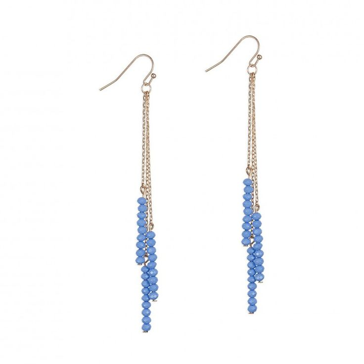 Boucles d'oreilles pendantes chaînettes et perles bleues
