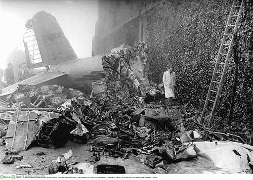 The Superga air disaster occurred on 4 May 1949  (17h05) when the Fiat G.212 of Avio Linee Italiana (Italian Airlines), carrying the entire AC Torino team (Il Grande Torino) crashed into the retaining wall at the back of the Basilica of Superga complex, which stands on the hill of Turin. There were 31 victims. The aircraft was returning from Lisbon (Portugal), where Torino had played a friendly as a farewell match for Jose Ferreira of SL Benfica.