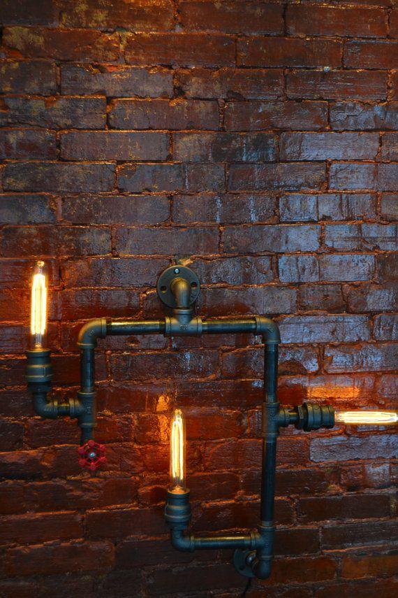 Medium Industrial Steampunk Pipe Wall Light von WestNinthVintage