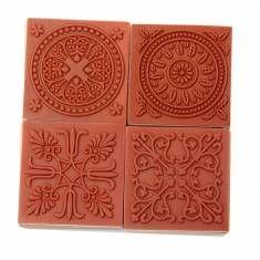 Vintage Flower Wooden Rubber Stamp Seal Square Scrapbook Paper Craft