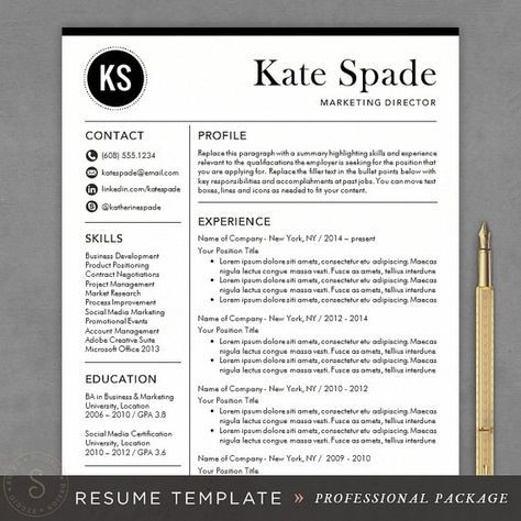 Professional Resume Template - CV Template for Word, Mac or PC, Professional Resume Design, Free Cover Letter, Creative, Modern, Teacher
