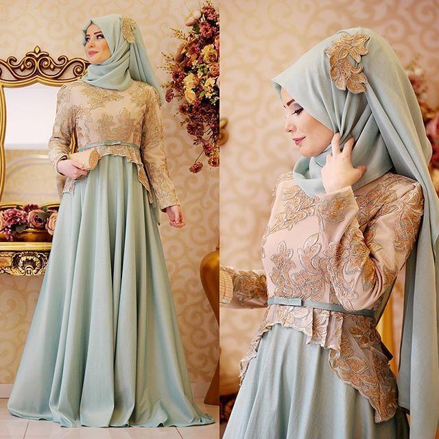 Bu akşamda Safir Abiye akşamı olsun☺️ ilk rengi MintYeşilin en güzel tonunu gold ışıltısıyla birleştirdik✨✨ #gamzepolat #hijab #newseason  www.gamzepolat.com.tr