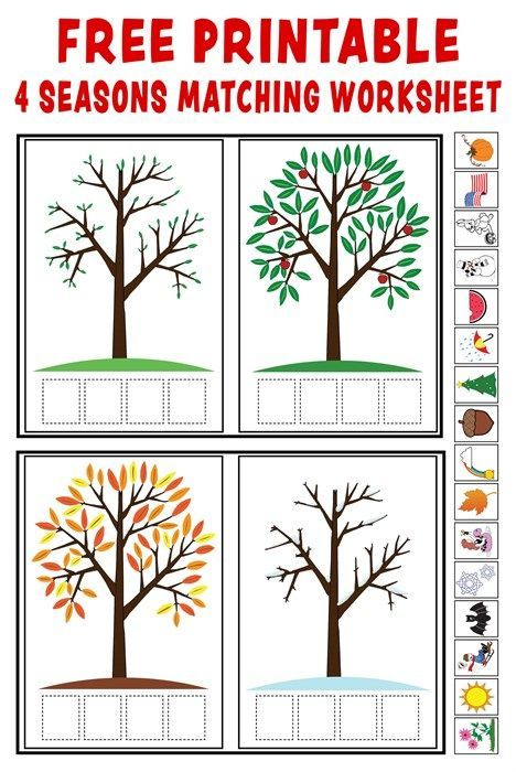 Free Printable Entertaining Worksheets : Quot season match up free printable seasons matching