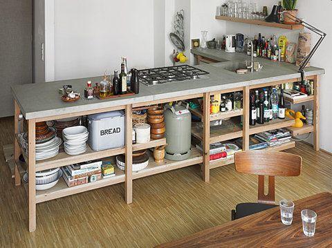 -Open Shelves, Storage Furniture, Kitchens Ideas, Oak Kitchens, Rainer Spehl, Modern Kitchens, Open Kitchens, Kitchens Cabinets, Concrete