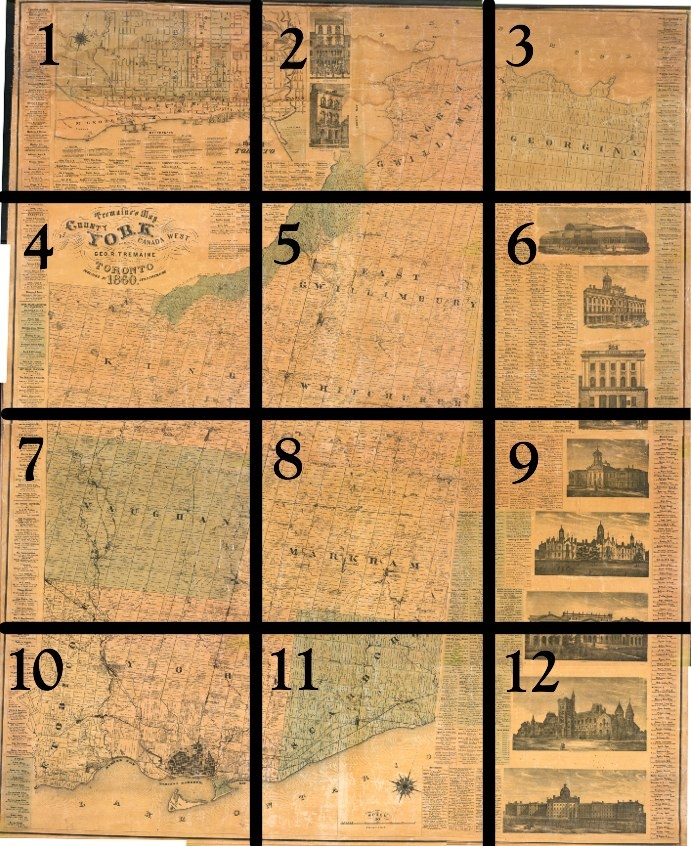 George Tremaine compiled large wall maps of most of the counties of southern Ontario in the 1850s and 1860s. The maps identify names of owners or tenants, houses of subscribers, and names of estates. This 1860 map is for York County.  Small black squares indicate buildings such as residences, inns, schools, churches, and factories. Illustrations of major buildings border the right-side of the map. There is also a list of the names, professions and residences of subscribers to the map...