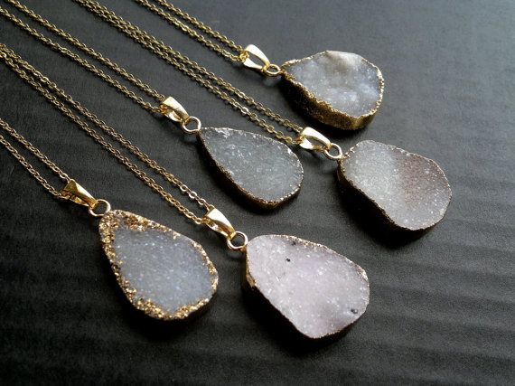 Gold edged druzy necklace. You can choose which one youd like to purchase.  Measurements: Stone: Number 3 is the longest one, it is approximately 1