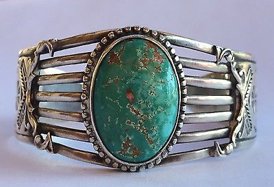 Vtg-Old-Pawn-Fred-Harvey-Era-Turquoise-Huge-Wide-Heavy-Sterling-Cuff-Bracelet