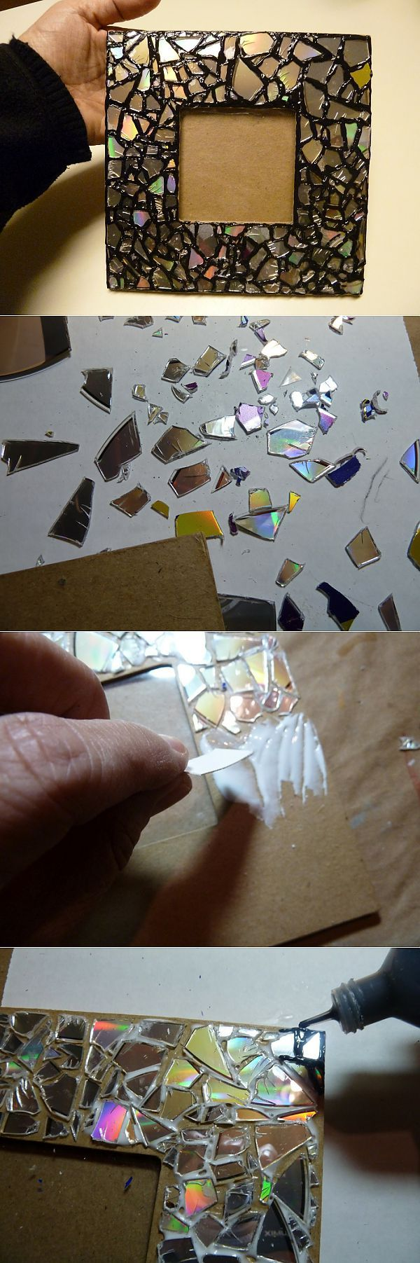 Мозаика из CD дисков. Декор рамки .