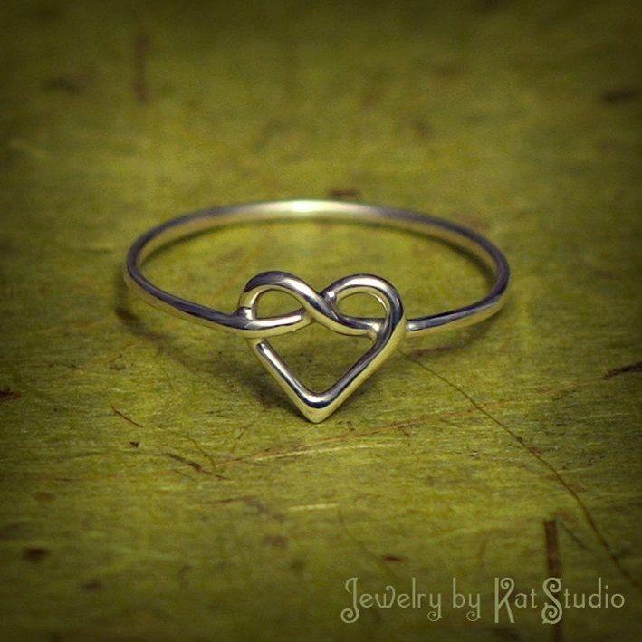 Heart Knot Ring  love knot ring  Infinity Heart ring  by Katstudio $23.00