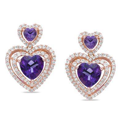 Fine Jewelry Genuine Orange and White Sapphire Heart-Shaped Drop Earrings S947kTNauX