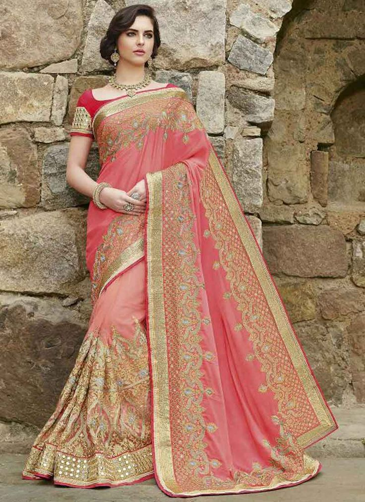 Pink Sequin Work Mirror Work Georgette Net Half Bridal Sarees.Designer Sarees with low price India.