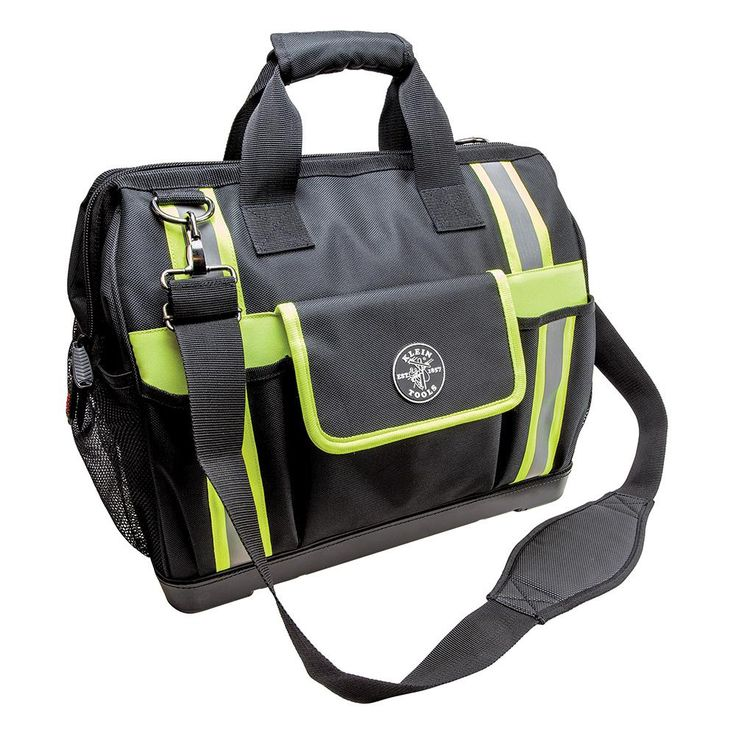 Klein Tools Tradesman Pro 17-1/2 in. High-Visibility Tool Bag in Black and Gray, Black/Reflective Grey/Green Accents