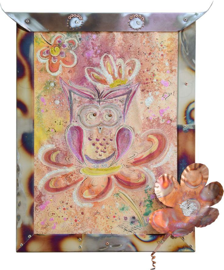 www.alicefagnocchi.it Innamorato cm 47x55,5 - 2015- Alice Fagnocchi Cornice realizzata in acciaio inox 316 bruciato. Fiore realizzato in rame bruciato. Ornamento in stagno. Stefano Carloni