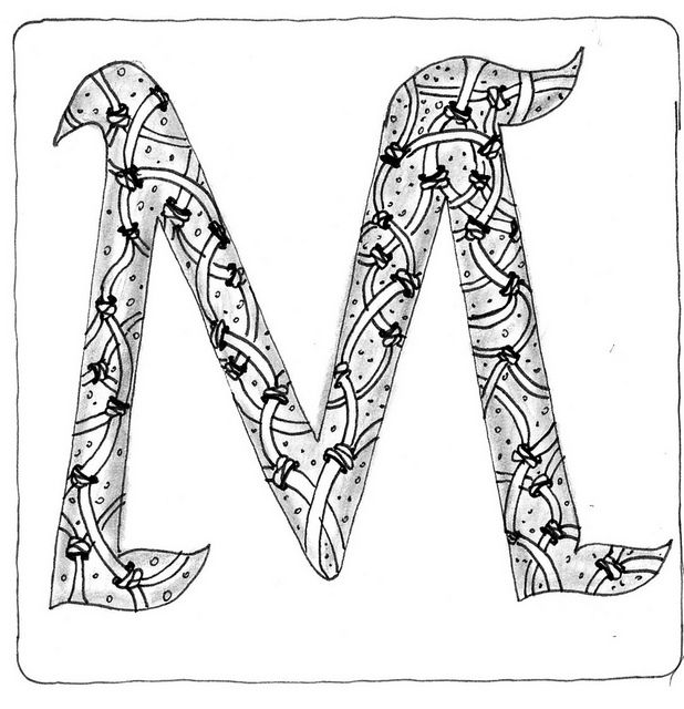 zentangle coloring pages letter n | 247 Best images about Zentangle letters and numbers on ...