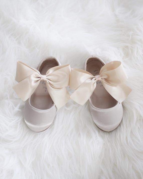 Girls CHAMPAGNE Satin shoes Maryjane