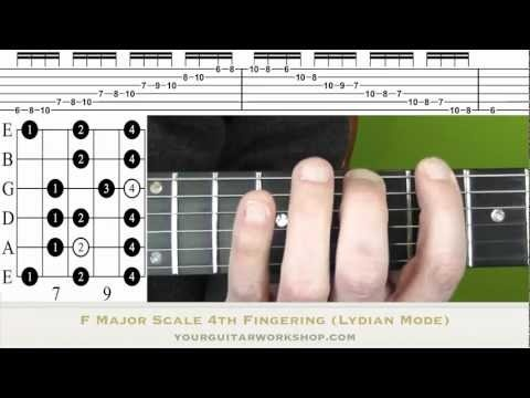 Guitar Lesson: how to play Major Scales - 4th fingering/lydian mode - guitar theory