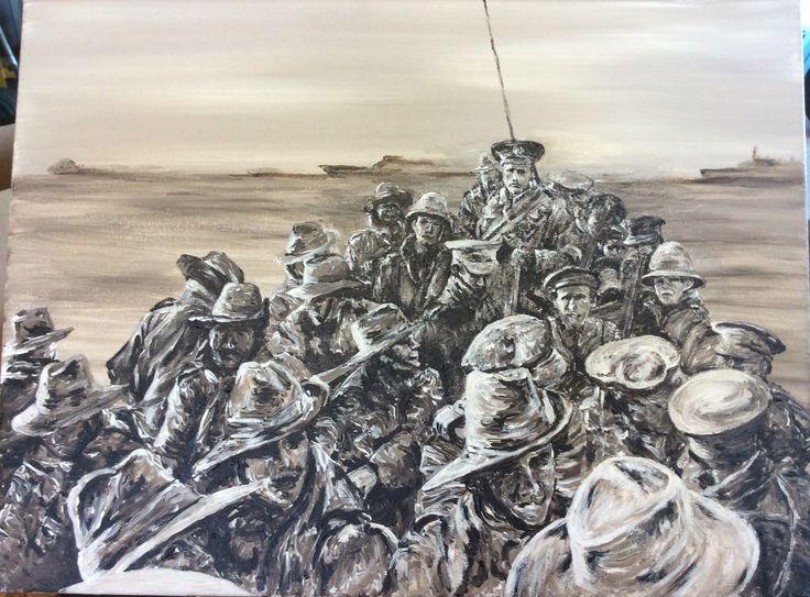 """1st Divisional Signal Company"" by Paula Benson 2016. From AWM archives Gallipoli landing 1915. Acrylic on canvas. www.bensonartworks.com.au."