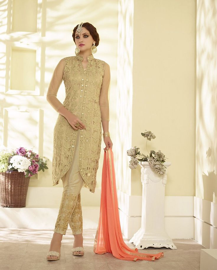 Beige Georgette Kameez With Pant 61298