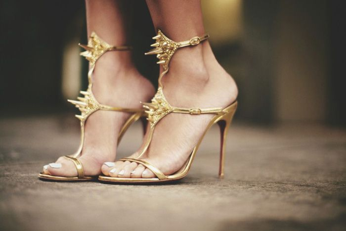 //: Fashion Photo, Gold Spikes, Spikes Heels, Louboutin Lady, Hot Heels, High Heels, Christian Louboutin, Lady Max, Gold Shoes