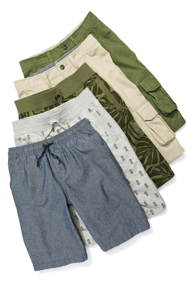 Cargo shorts in camo-inspired prints and denim. High-quality and high style. #looksforless #kidsfashion #boysfashion #cargoshorts #shorts #camo