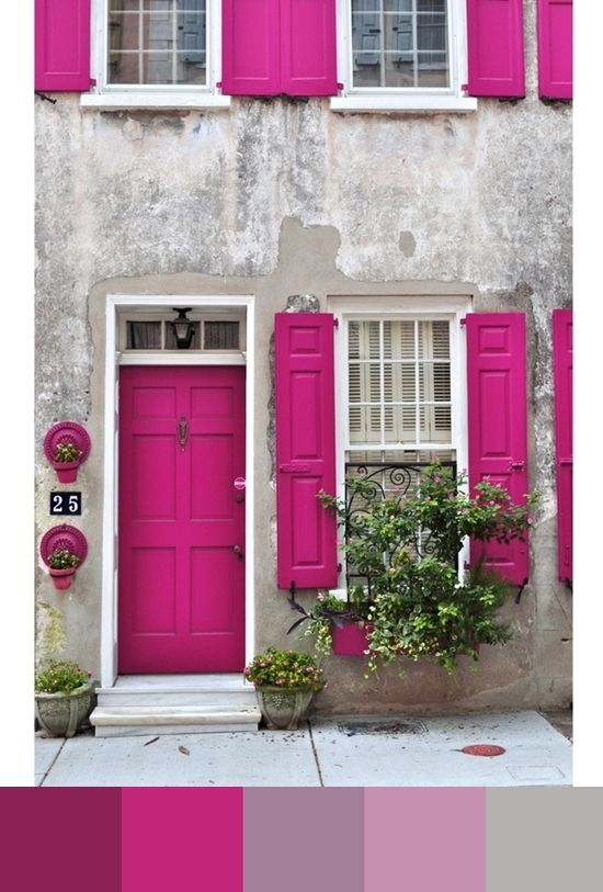 rasberry pink shutters and door wonder how the neighbors feel?