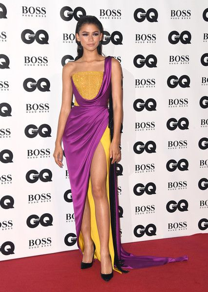 16649ad95a Zendaya Coleman One Shoulder Dress - Zendaya Coleman went for exotic  glamour in a color-block one-shoulder gown by Ralph   Russo Couture at the  2018 GQ Men ...