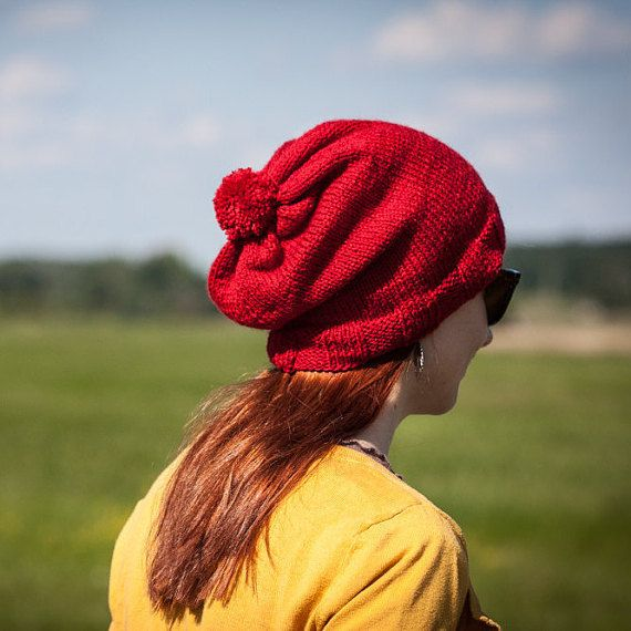 Red Pompom Slouchy Beanie Hat / Knit Red Wine Fall by RUKAMIshop