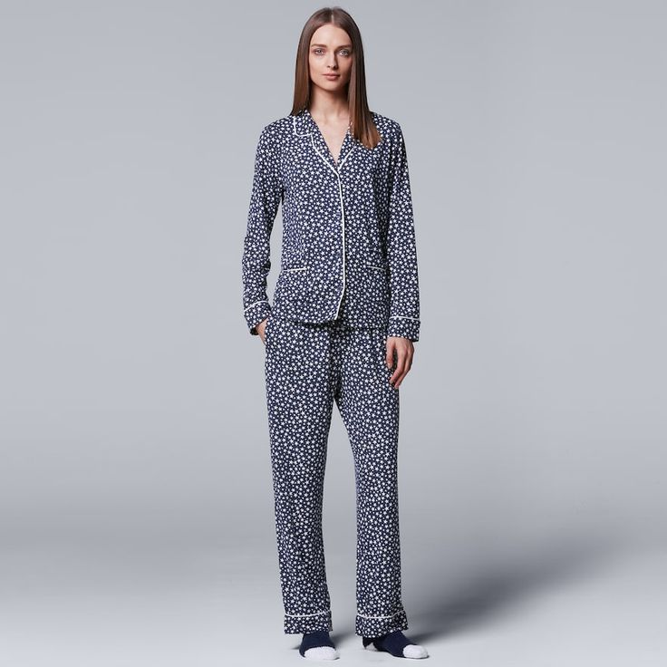 Women's Simply Vera Vera Wang Pajamas: North Isles Top, Pants & Socks PJ Set, Size: Small, Dark Blue