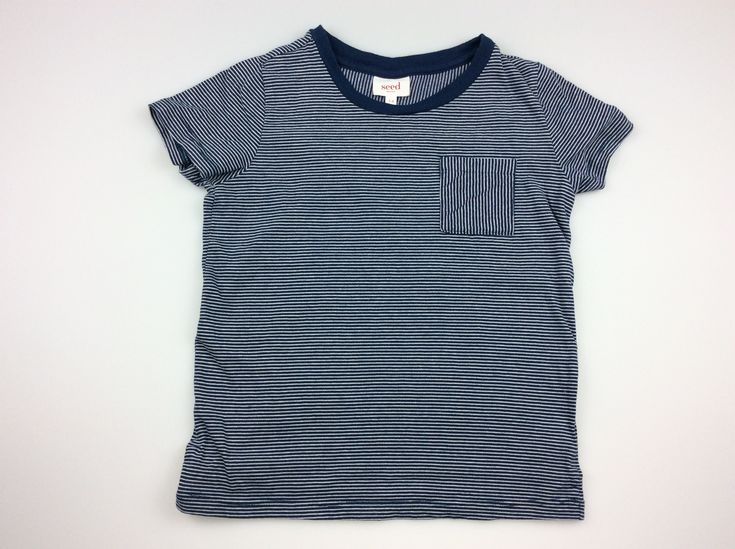 SEED, navy and white striped t-shirt, good pre-loved condition, size 5-6, $8 #kidsfashion #boysfashion #SeedHeritage