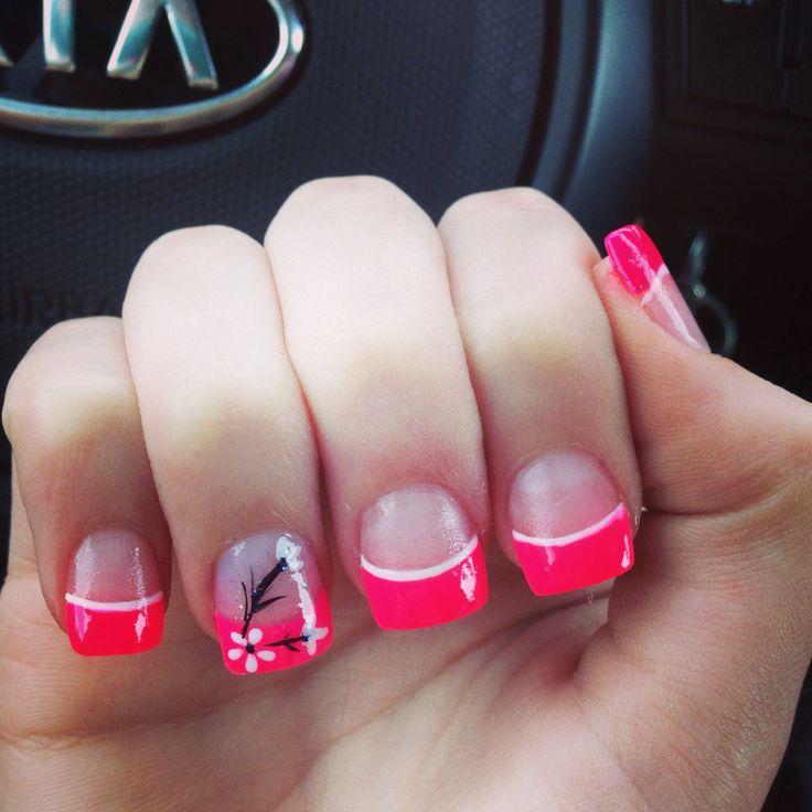 white tip design nails