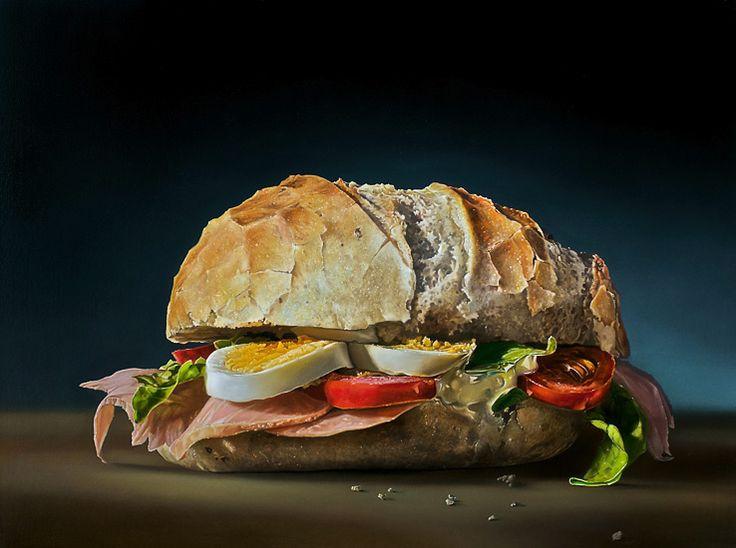 """""""Broodje gezond"""" van Tjalf Sparnaay. Dit is geen foto maar een schilderij! Dit is KUNST."""