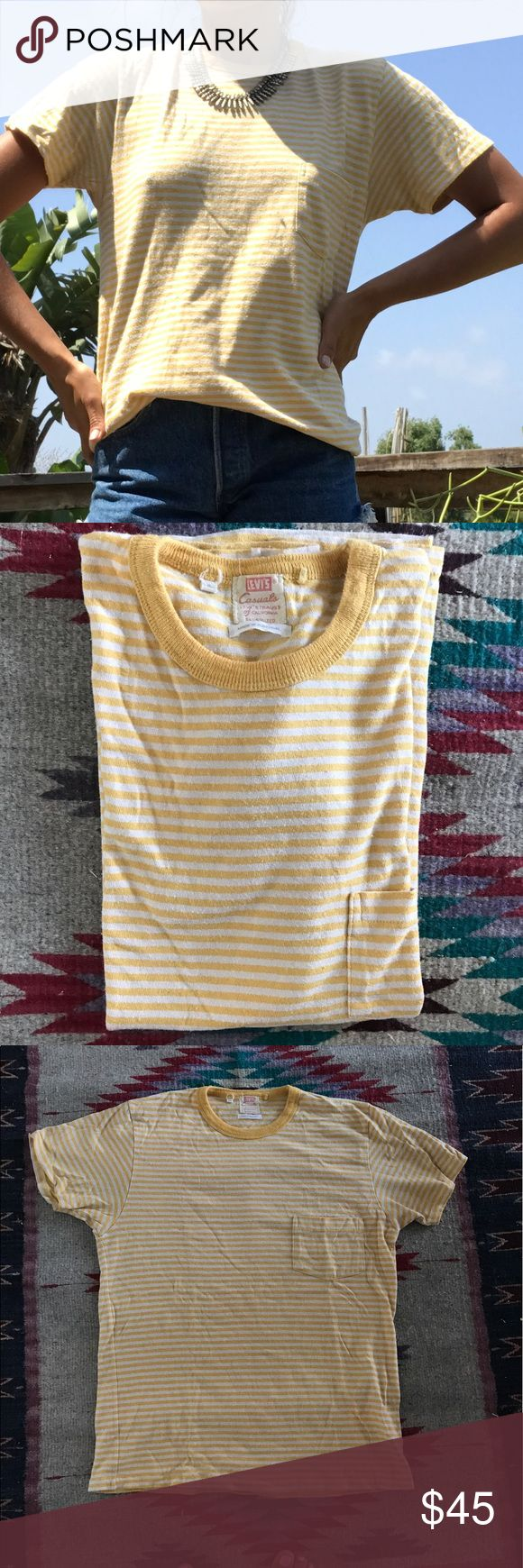 LEVIS // Vintage Style Pocket Tee Amazing quality shirt in yellow and white stripe. This is a unisex style that is oversized on women. One pocket. Thick cotton. Levi's Tops Tees - Short Sleeve