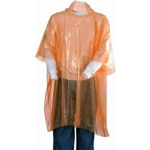 Disposable rain poncho with pouch. Poncho with hood. Includes a convenient, reclosable pouch (size 12.5 x 15 x 0.5 cm) which can be decorated. Decoration on pouch only