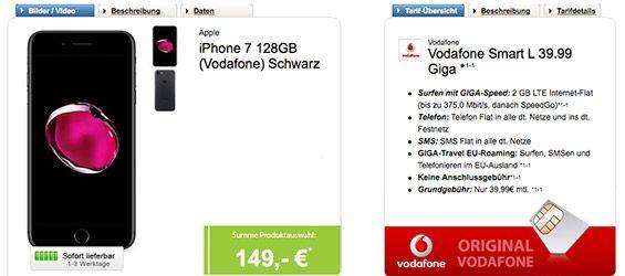 Apple iPhone 7 (128GB) für 149€ mit Vodafone LTE Vertrag für 39,99€ http://www.simdealz.de/vodafone/iphone-7-mit-vodafone-smart-l/