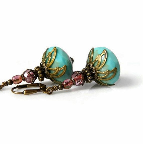 Pink Coral & Turquoise Earrings Bohemian Turquoise Czech
