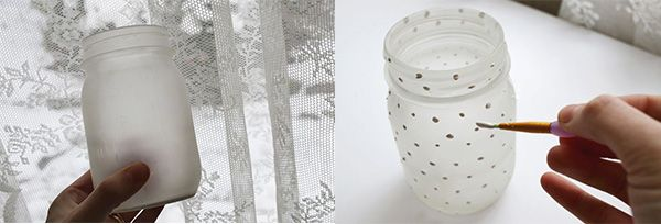 I love the atmosphere that soft candles can create at a party. Today i am going to share with you a simple technique for creating lovely frosted candle jars with special details using their watercolors!