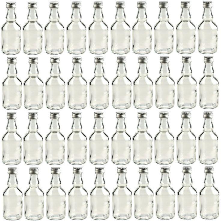 """40 leere Mini Glasflaschen """"Mina"""" 50 ml Glasfläschchen kleine Flaschen incl. Schraubverschluss, Likörflaschen zum selbst Abfüllen Schnapsflaschen Essigflaschen Ölflaschen"""