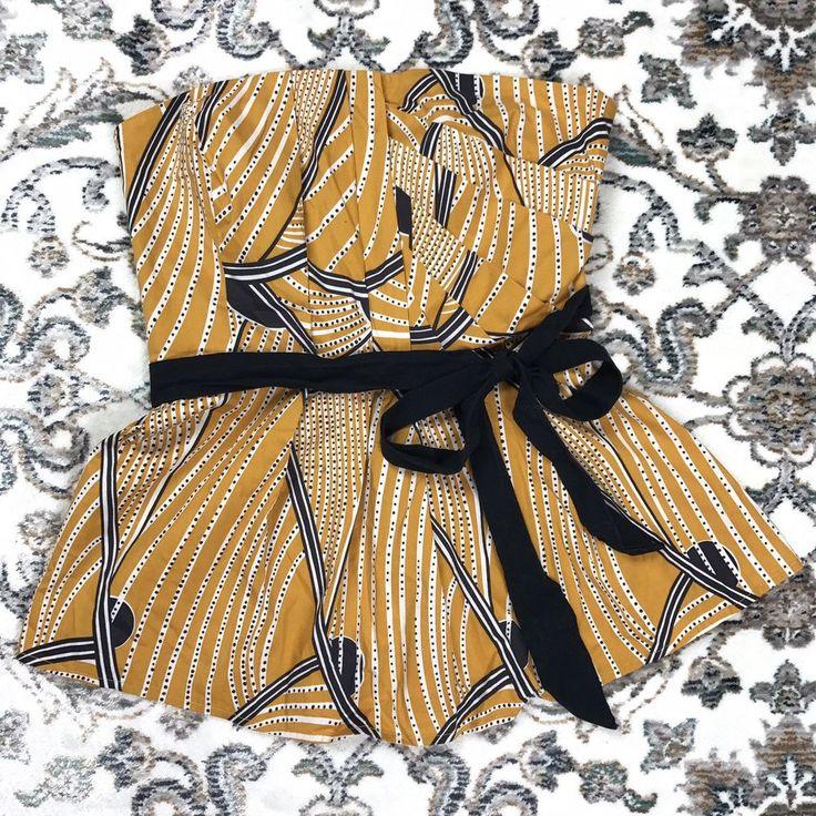 Floreat Womens Peplum Top Anthropology Strapless Tie Waist Yellow Size 2  | eBay